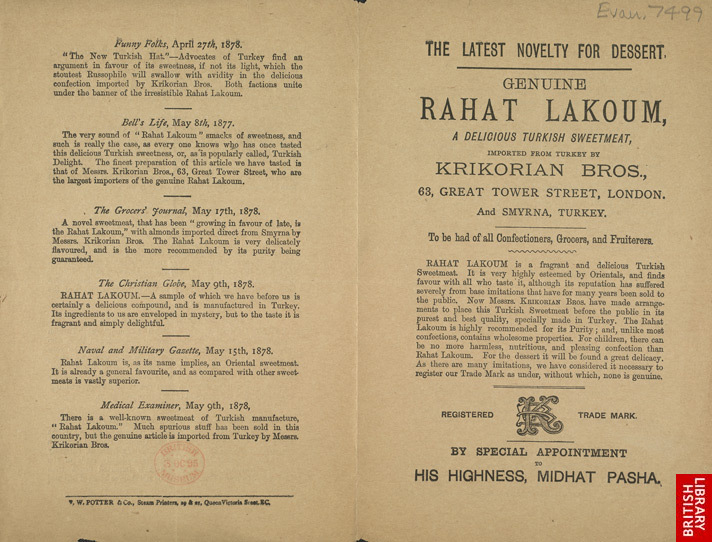 Advert for Rahat Lakoum, new Turkish dessert